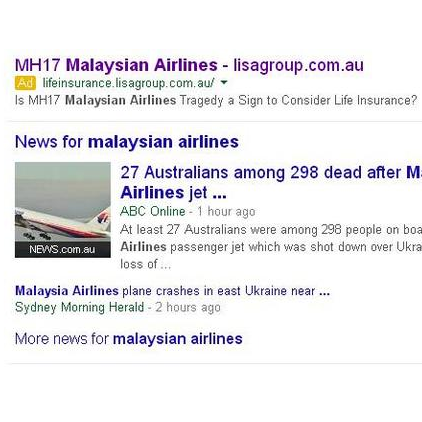 "Life Insurance Company Advertises on ""Malaysian Airlines"" on AdWords"
