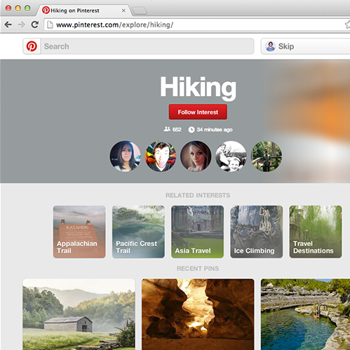 Pinterest Launches New Interest Category Pages