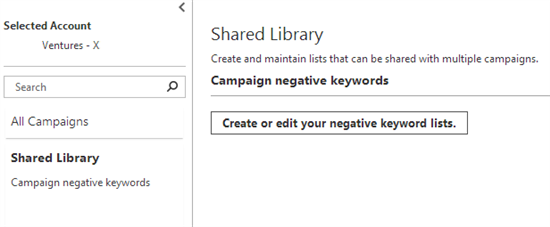 bing ads negative keywords