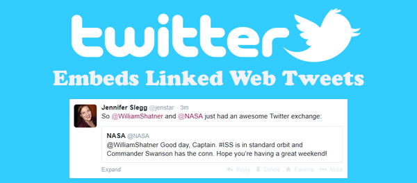 Twitter Embeds Linked Tweets on Web Version of Twitter