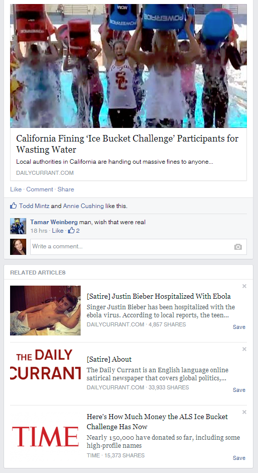 Satire Sites Hit With Facebook S Related Articles Satire Tag