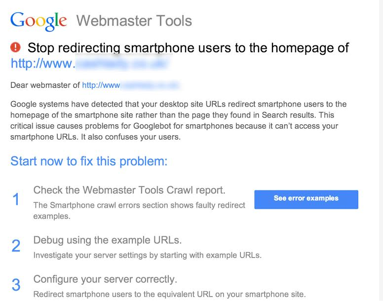Google Starts Warning Websites That Redirect Mobile to Homepage