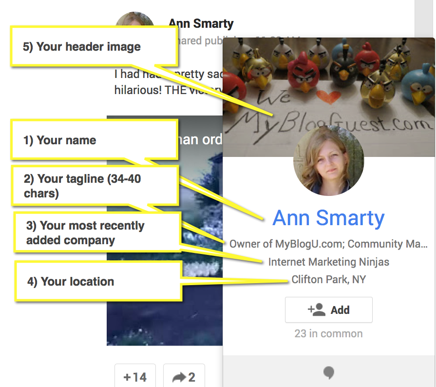 The Anatomy of Google Plus Hover-over Card