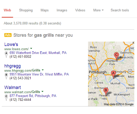 New Google AdWords Extension for Mapped Local Product Results