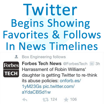 Twitter Begins Showing Follows & Favorites in News Timelines