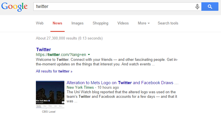 Searching for Some Company Names in Google News Displays Their Homepage