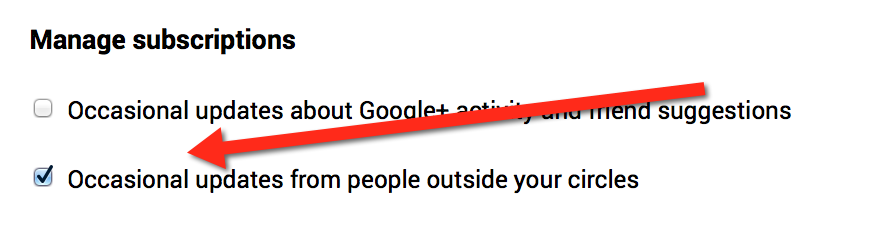Occasional updates from people outside your circles - Google Plus