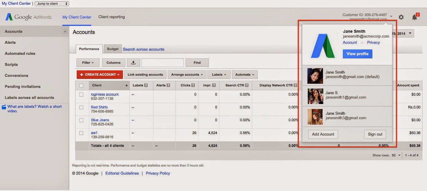 Google AdWords Adds Multiple Account Logins Simultaneously