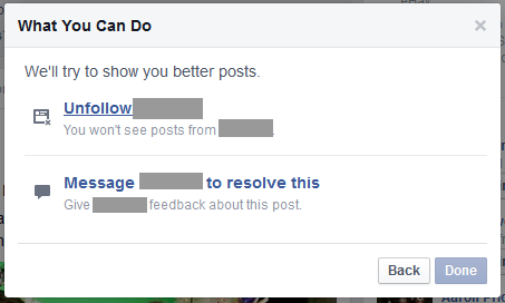 "Hide a Post on Facebook?  They Want You to ""Resolve"" With Original Poster"
