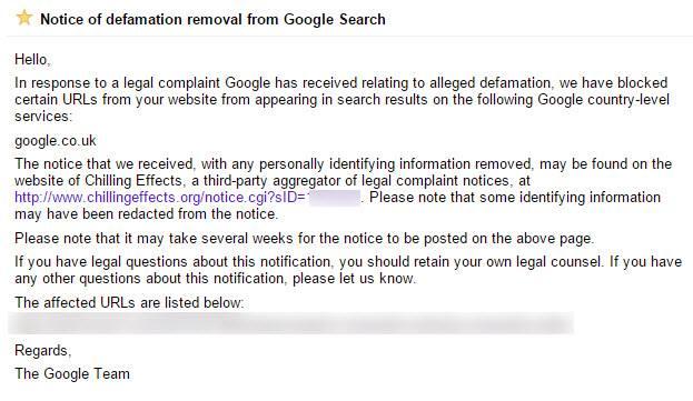 google defamation