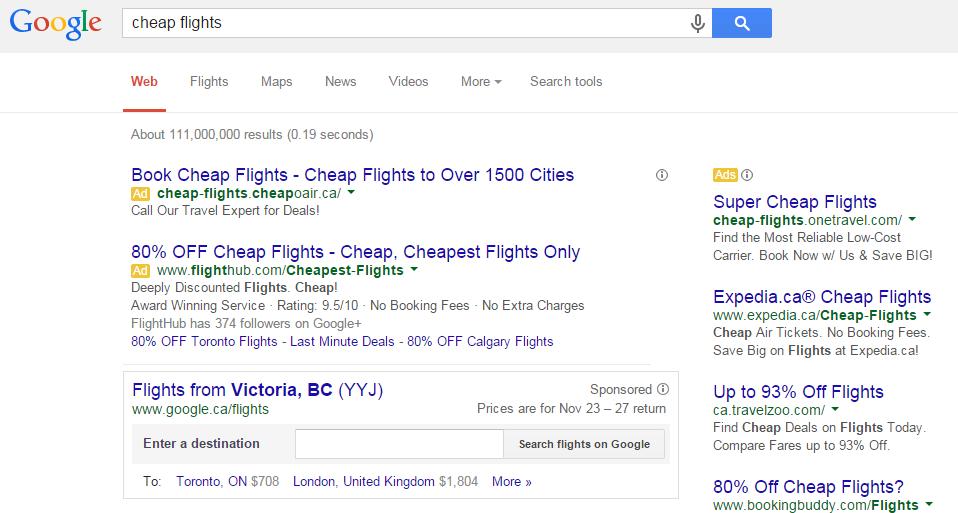 Google Testing Sponsored Flight Box Search For Generic Flight Queries