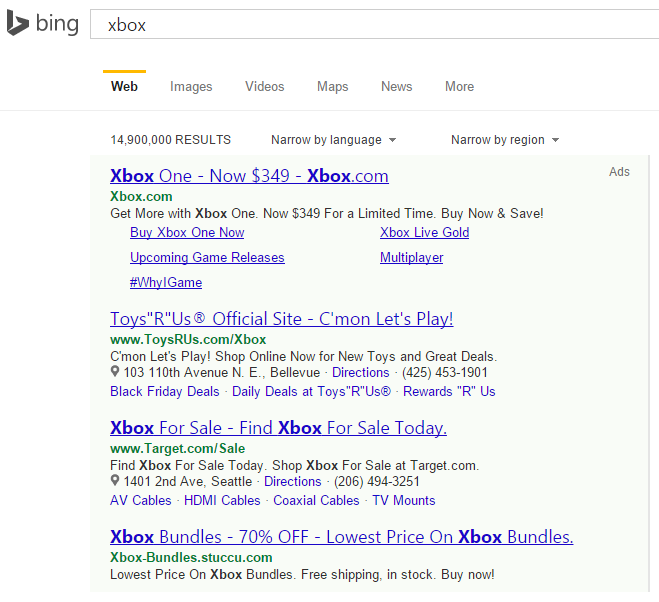 Bing Ads Testing Green Ad Backgrounds in Top & Bottom Ads in Search Results