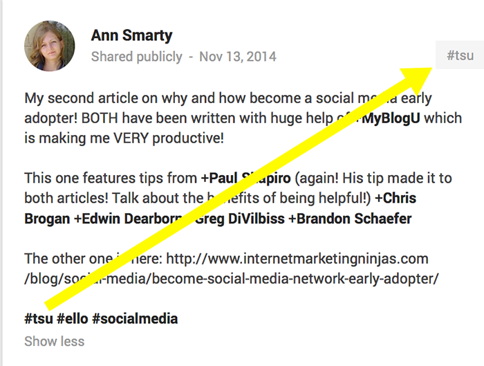 If you want people to see your brand name there, put it first as a #hashtag in your update