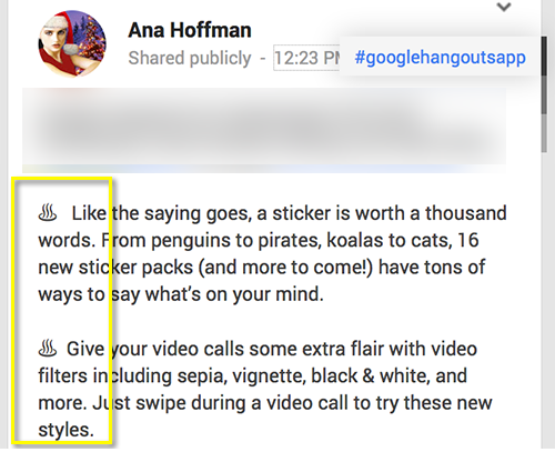 Make use of windings in Google Plus update