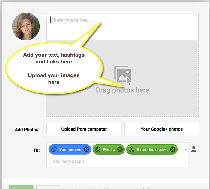 Post images to your Google Plus account.