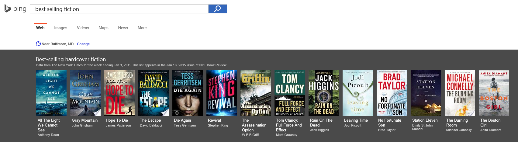 Best Selling Books Carousel in Bing Search Results