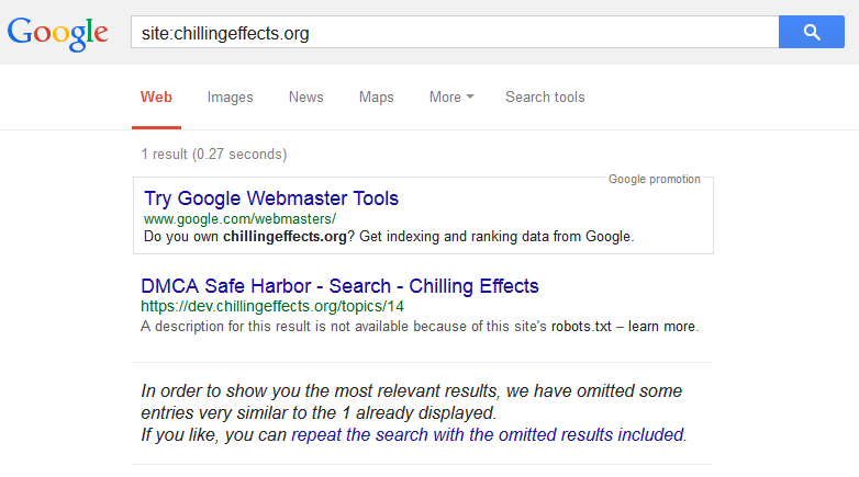 Chilling Effects Blocks Search Engines From Indexing