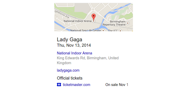 Google Adding Concert Ticket Links to Knowledge Graph Results for Musical Artists