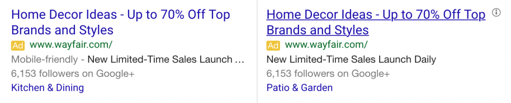 adwords mobile friendly compare