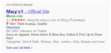 bing macys no tag