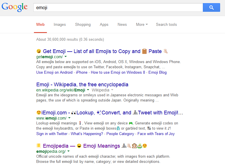 Google Search Results Displaying Full Color Emoji Icons for Desktop