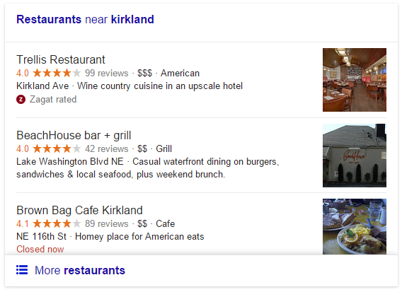 Google Testing Image Thumbnails for Local Restaurants in Pack Results