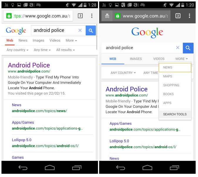 google testing desktop style mobile search results
