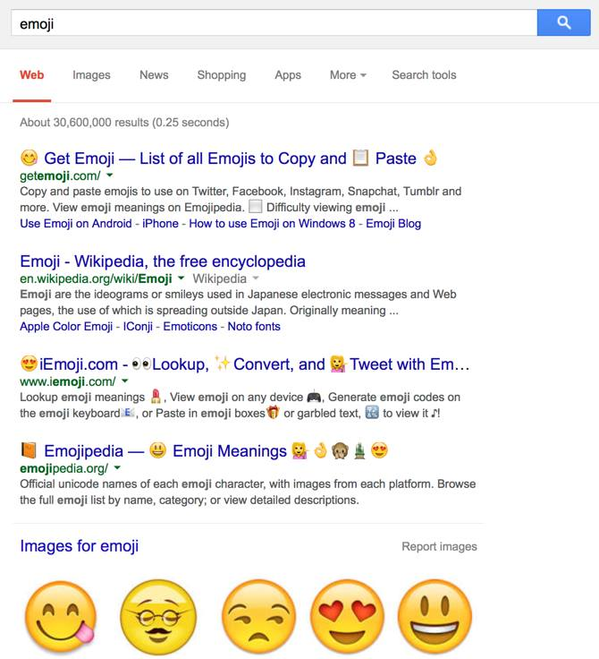 Google Search Results Displaying Full Color Emoji Icons for