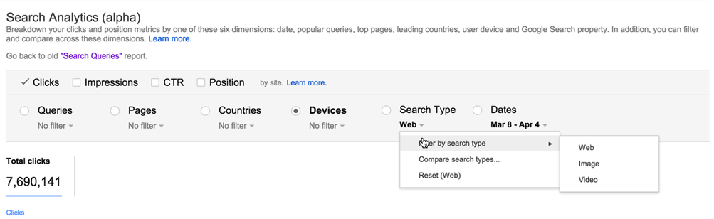 New Google Webmaster Tools Separates Search Type & Devices in Search Analytics Alpha / Beta