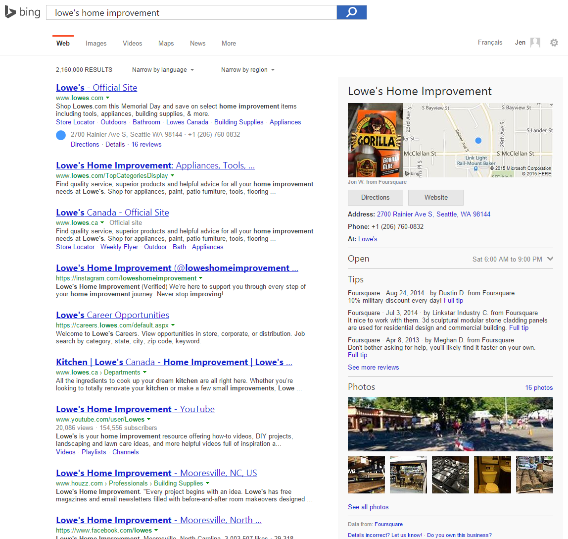 Bing Including Foursquare Photos & Tips in Local Knowledge ...