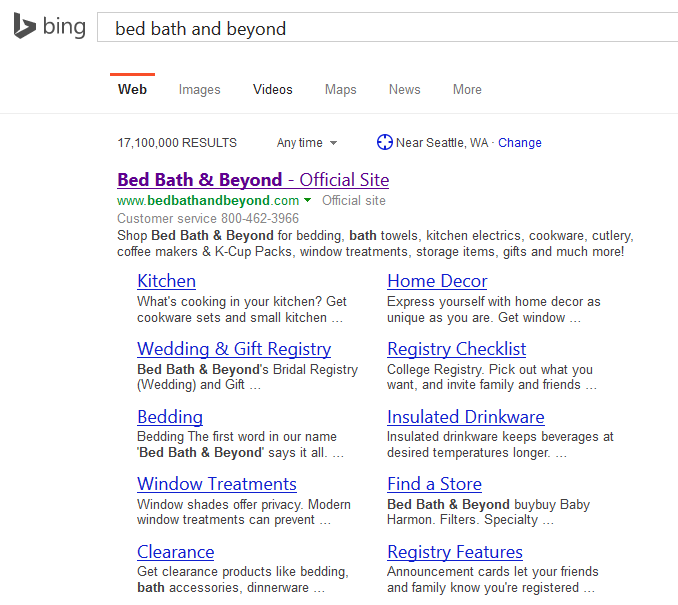 bing search ten sitelinks