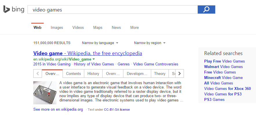 bing wikipedia answer box 1