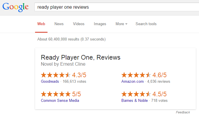 Google Displaying More Reviews in Book & Movie Review Answer Box