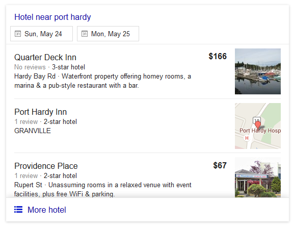 google hotel no price