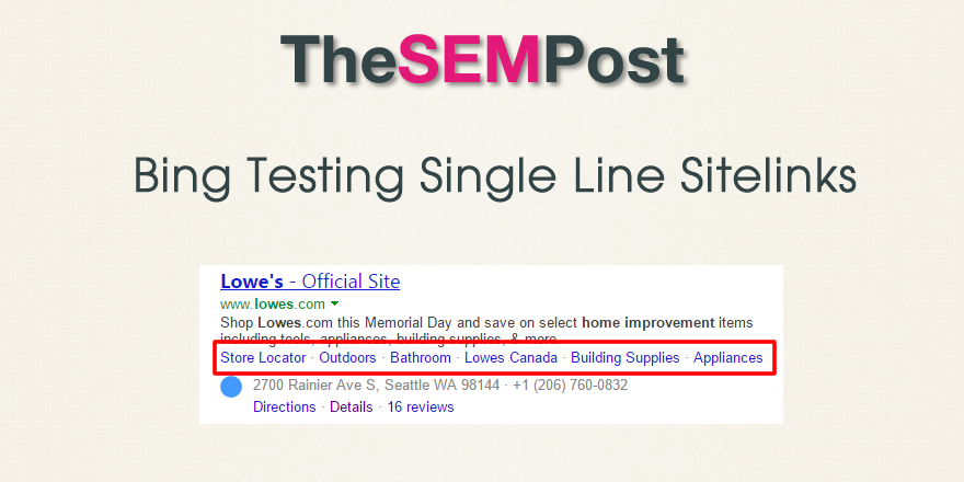bing single sitelinks header