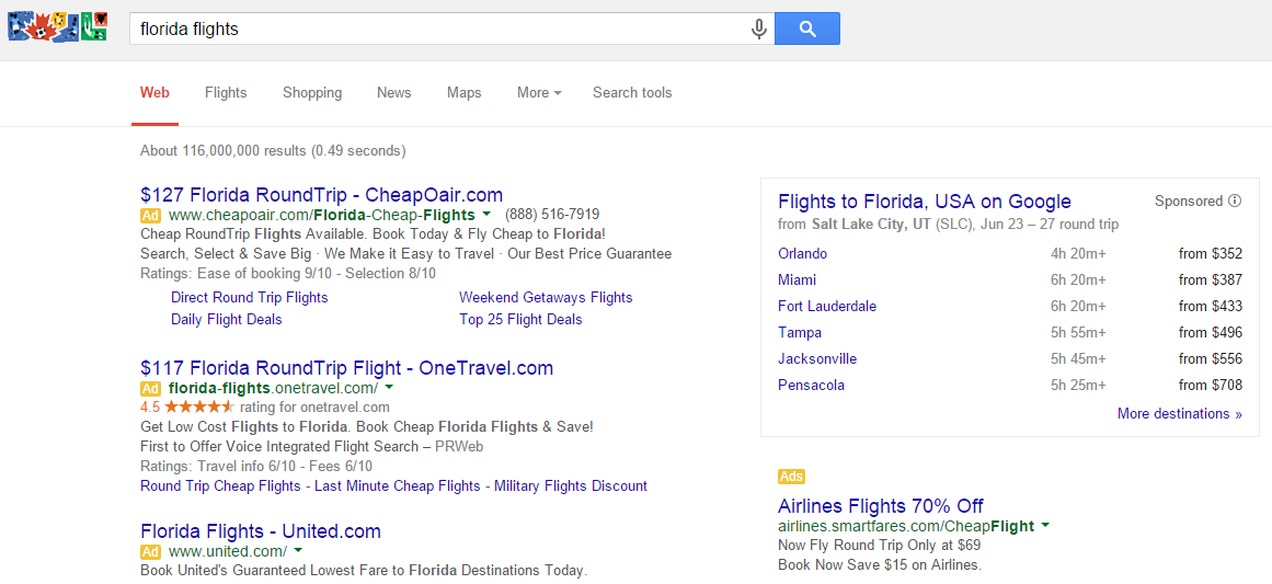google flight search sidebar