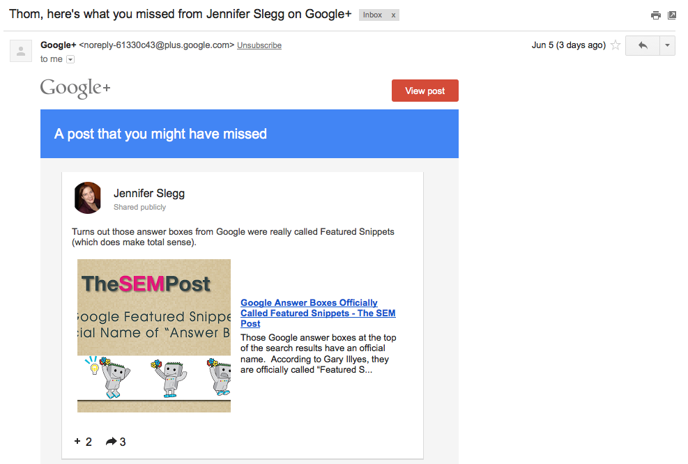 Google+ Sending Reminder Emails to Users About Missed Posts