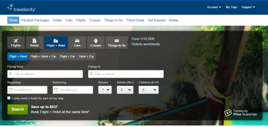 Travelocity desktop