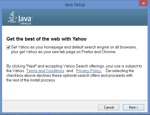 Java Updates Change Search Engine & Homepage to Yahoo