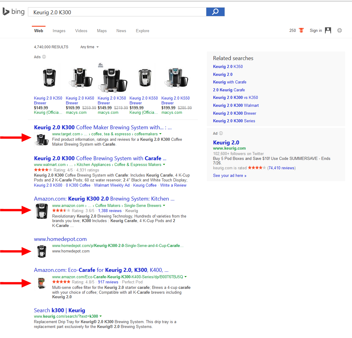 bing showing product thumbnails serps 1a