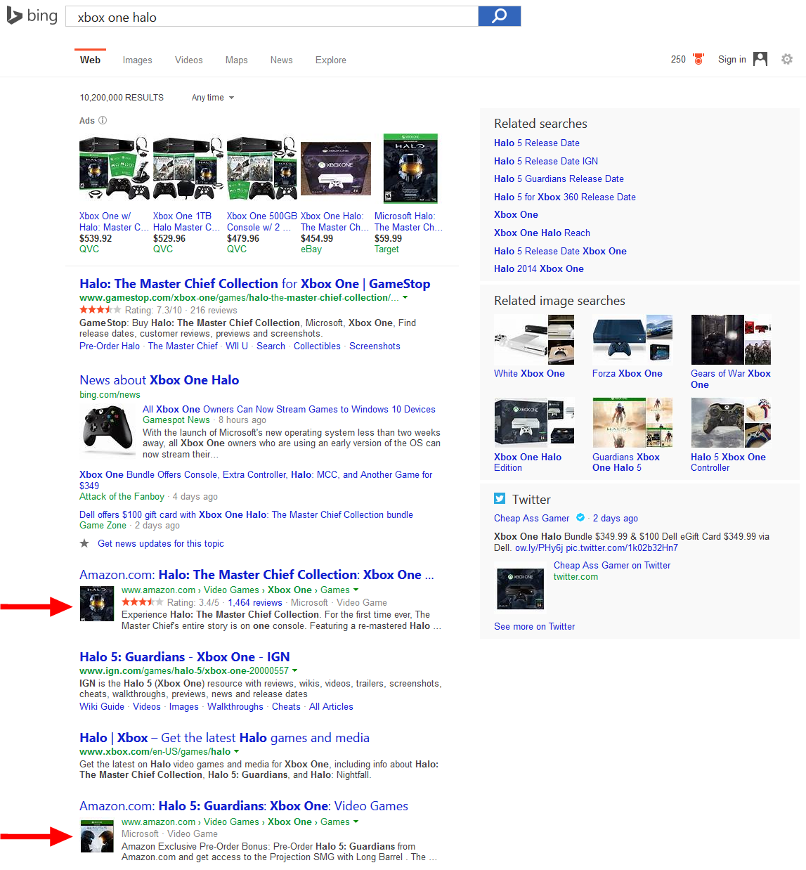 bing showing product thumbnails serps 2a