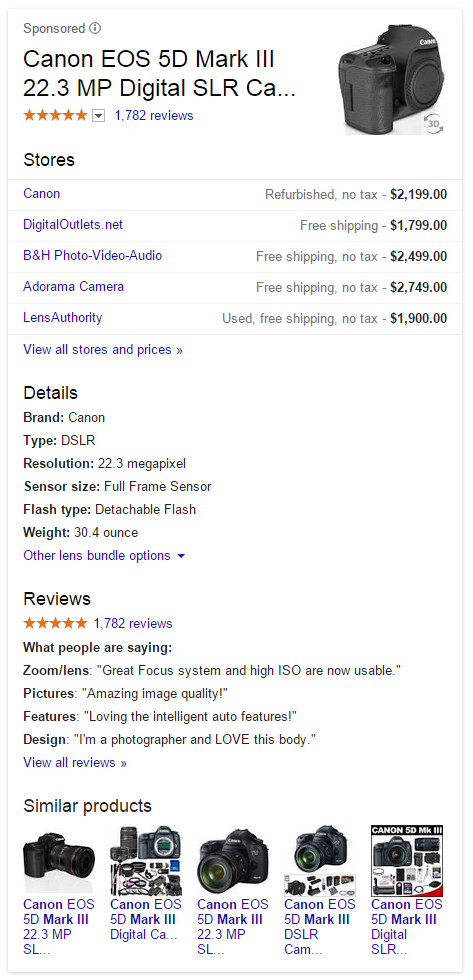Google's Large Product Listing Ad & Knowledge Panel Hybrid Ads