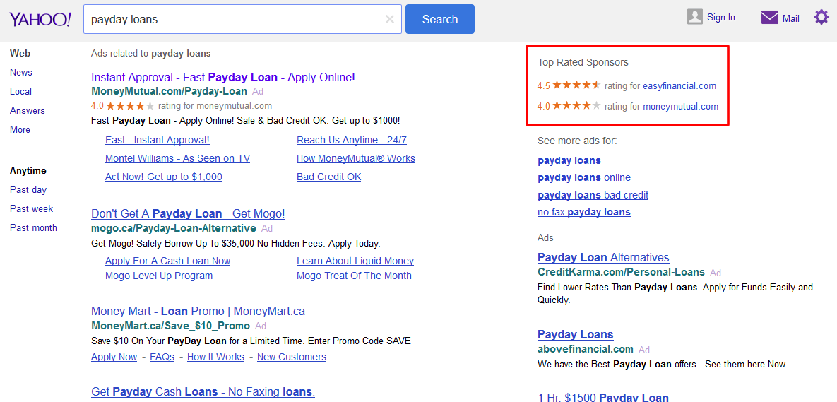 Yahoo Testing Ratings Only Ads in Search Results