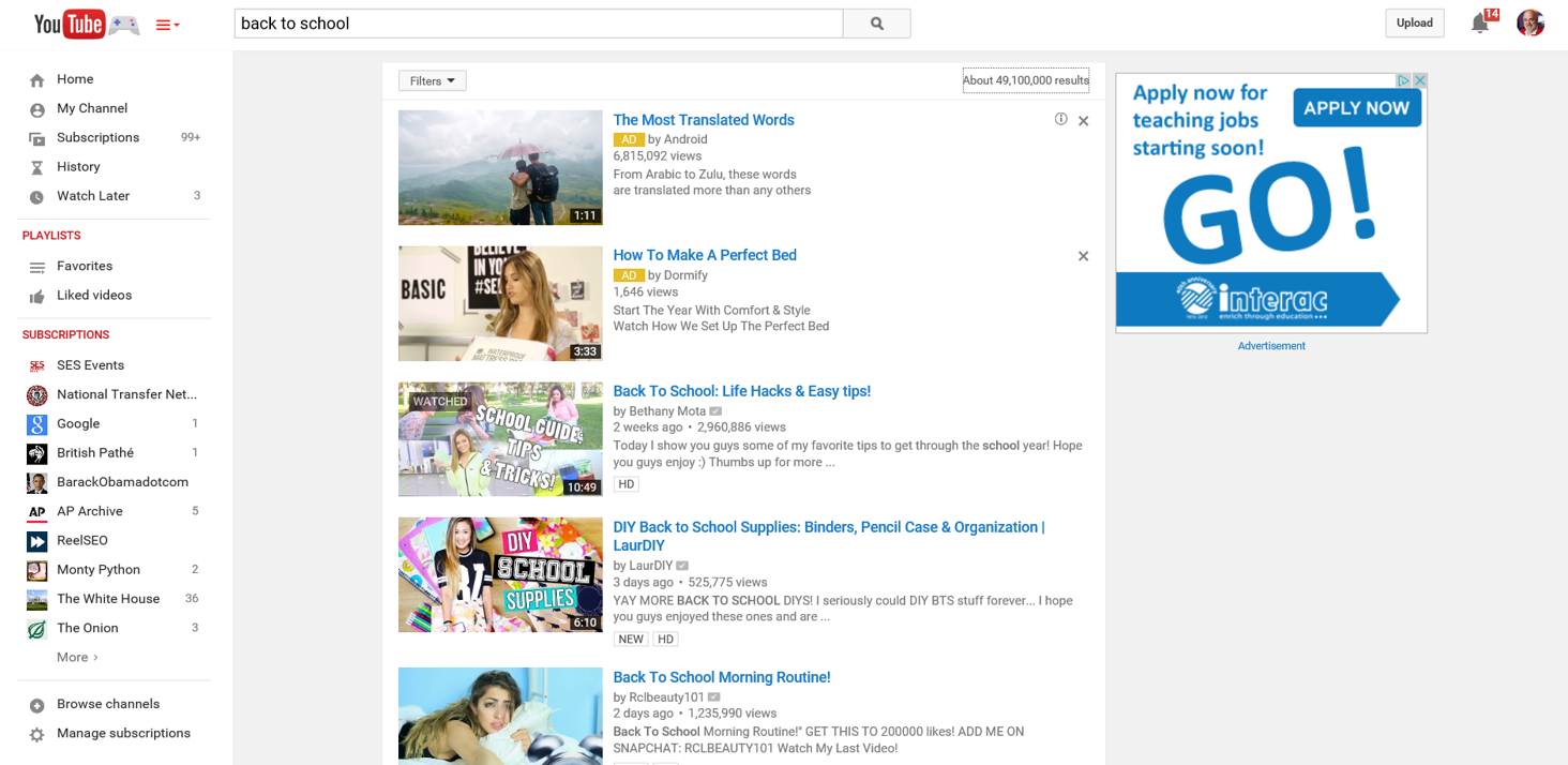 "Who Owns the #1 Ranking in YouTube for ""Back to School""? It's Bethany Mota"