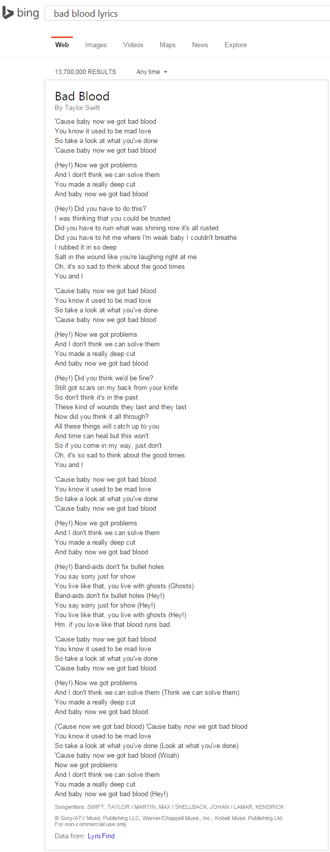 bing lyrics 1