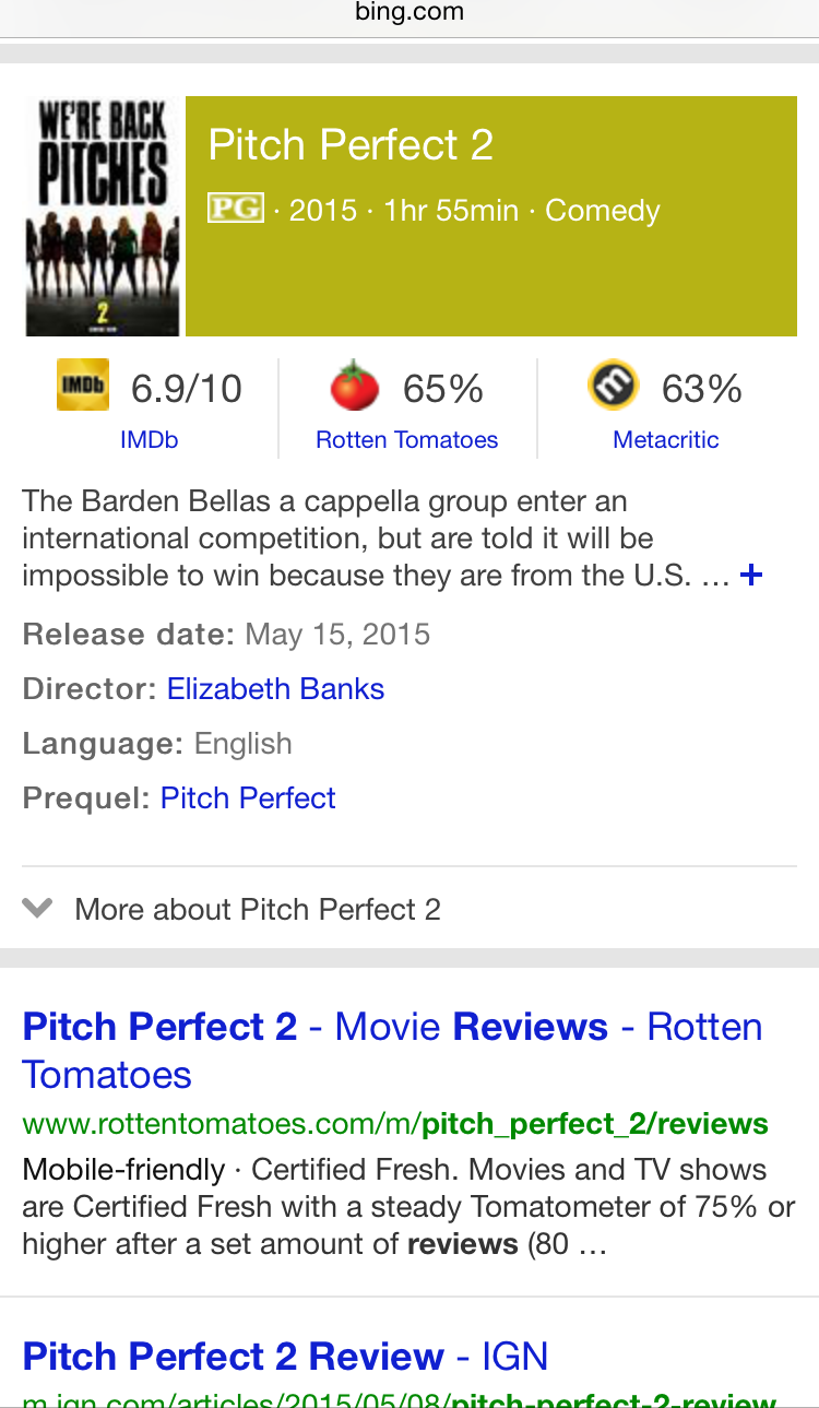 bing movie reviews mobile