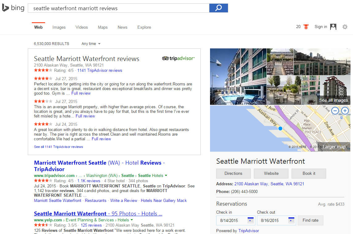 Bing adds tripadvisor reviews to search results for hotels for Hotel search