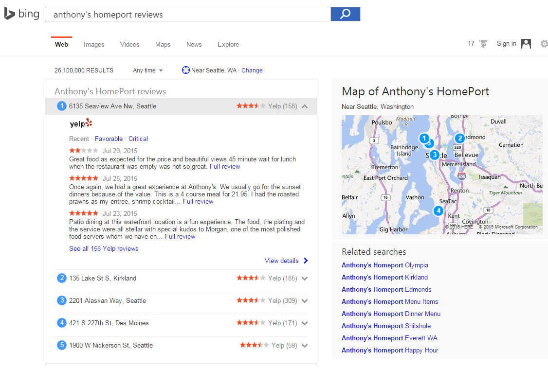 Bing Showcases Yelp Reviews in Search Results