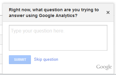 Google Analytics Asking for User Feedback