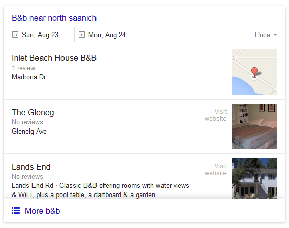 Google Local 3-Pack Results With Ratings Selection